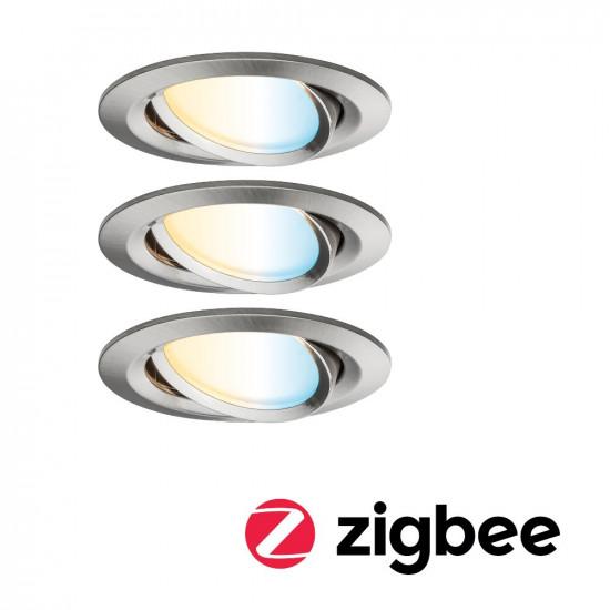 Paulmann 92962 SmartHome Zigbee LED Einbauleuchten-Set Nova Plus 3x6,5W Eisen gebürstet
