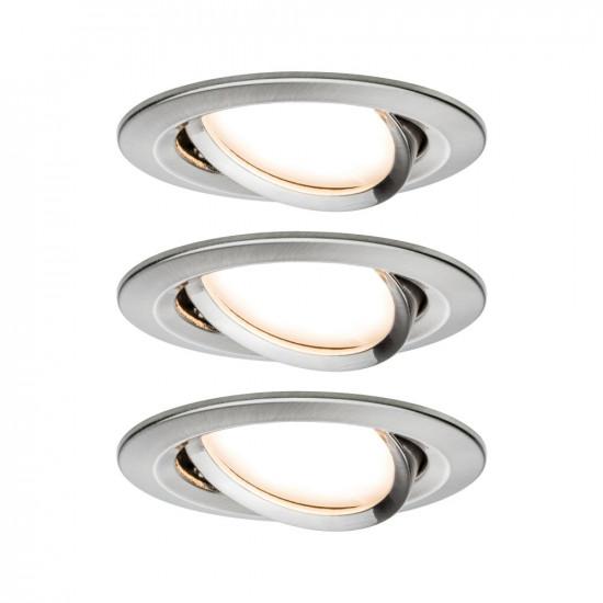 Paulmann 93483 Einbauleuchte LED Coin Nova rund 6,5W Eisen 3er-Set schwenkbar 3-Stufen-Dimmbar
