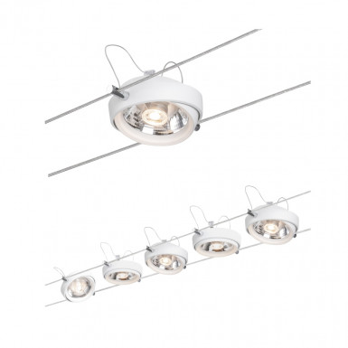 Paulmann 94200 Seil-Set Powerline II, LED 5x8W, G53 Weiß 230/12V 80VA Metall/Kunststoff